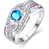 Veunora 925 Sterling Silver Created 5x5mm Blue and Pink Topaz Filled Twisted Ring Band for Women