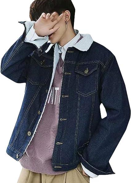 BeiBang(バイバン)デニムジャケット メンズ 裏ボア ジージャン 裏起毛 厚手 Gジャン ファッション 保温 ジャケット ショート もこもこ アウター 秋 冬 ファッション 裏ボアジャケット デニム