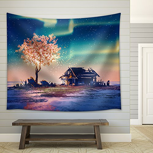 Illustration Abandoned House and Fantasy Tree Lights under Northern Lights Illustration Painting Fabric Wall Tapestry