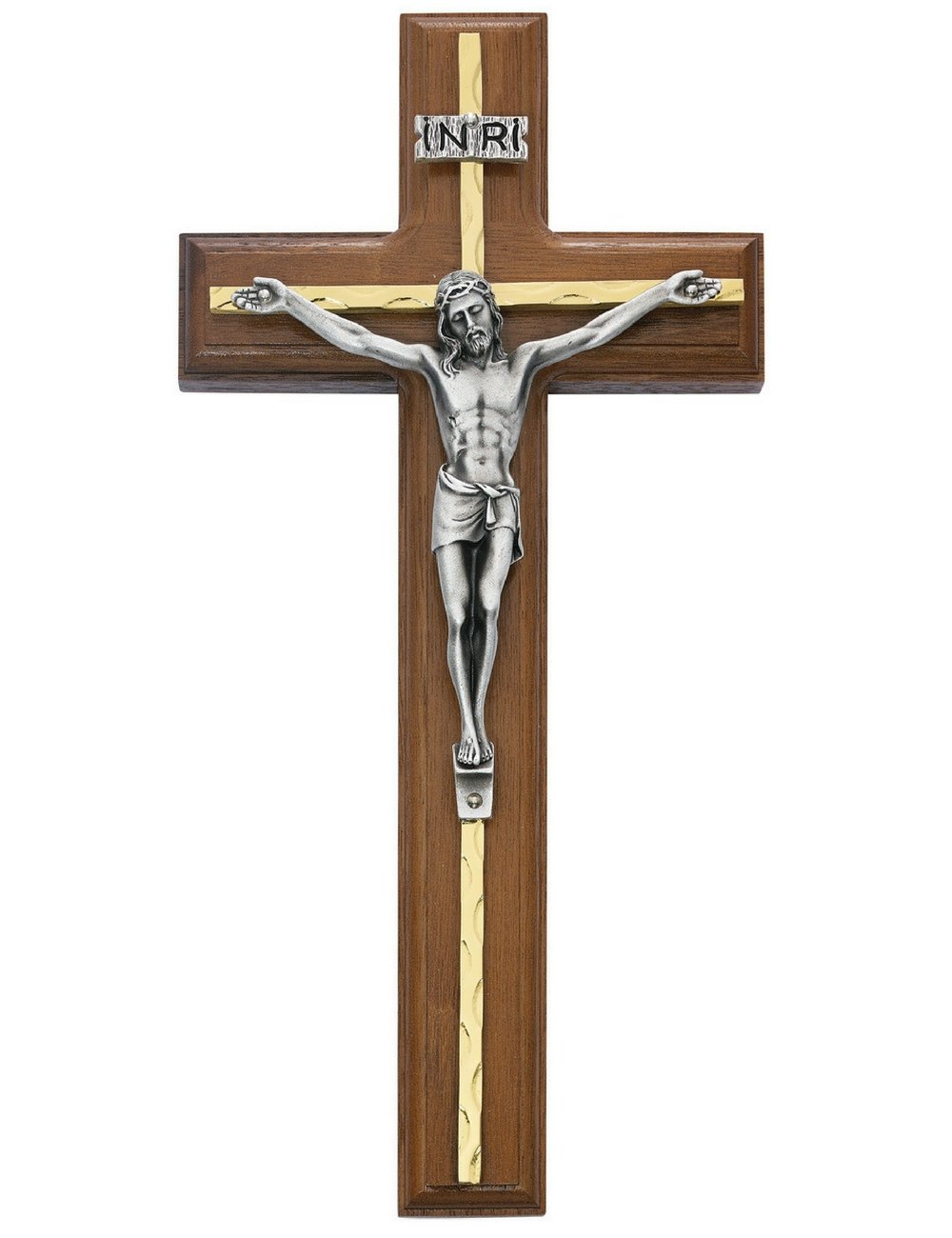 All Patron Saints Wall Crucifix Cross in Walnut Wood with Gold Color Overlay and INRI 10 Inch