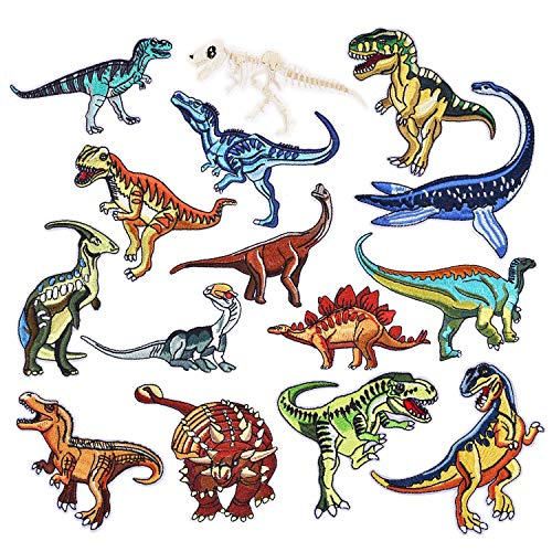 15pcs Dinosaur Iron On Patches Embroidered Motif Applique Assorted Size Decoration Sew On Patches Custom Patches for DIY Jeans, Jacket, Kid