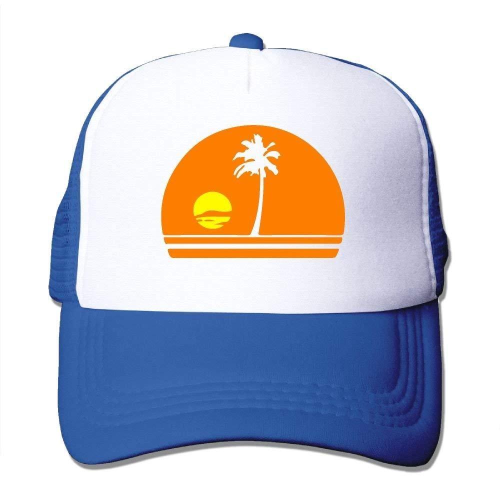 Adjustable Mesh Hat JTRVW Cowboy Hats Palm Tree/&Sunset Two Tone Trucker Cap
