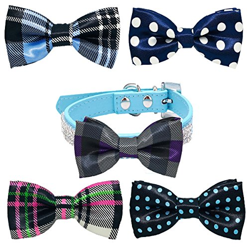 PET SHOW Pet Small Dogs Collar Attachment Bow Ties Puppies Cats Collar Charms Accessories Slides Bowties for Birthday Wedding Parties Assorted A Style Pack of 5 ()