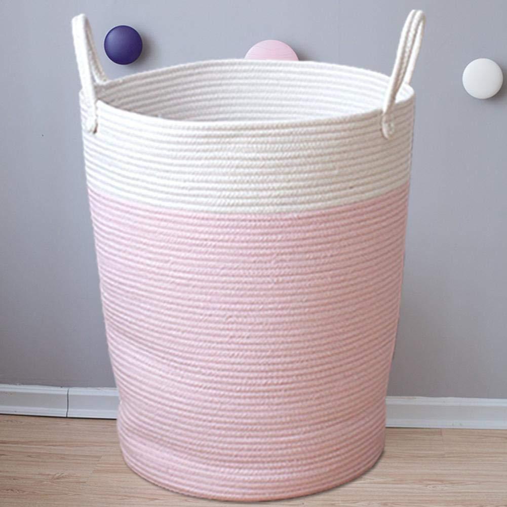 Aufbewahrungskorb aus Baumwollseil W/äschekorb gewebt W/äschekorb Haushalt Kinderzimmer Gewebte Kleidung Aufbewahrungstasche mit Griffen f/ür Kinderzimmer Kinderzimmer Spielzeug Aufbewahrung L-white+pink