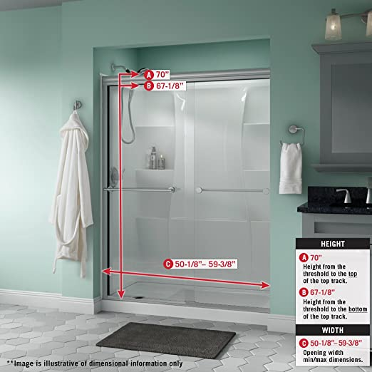 Delta Shower Doors Sd3172319 Trinsic 60 X 70 Traditional Sliding Semi Frameless Shower Door In Bronze With Rain Glass Amazon Com
