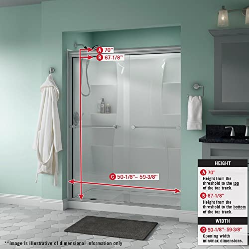 Delta Shower Doors SD3172335 Windemere Semi-Frameless Traditional Sliding Shower Door 60in.x70in