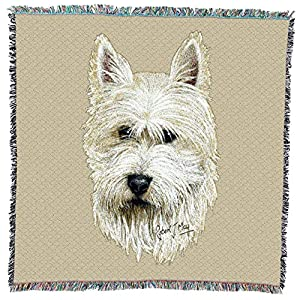 Pure Country Weavers - West Highland White Terrier Woven Throw Blanket with Fringe Cotton. USA Size 54x54 25