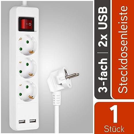 5-fach Steckdosenleiste mit 2 USB Ports Mehrfachsteckdose Verlängerungskabel