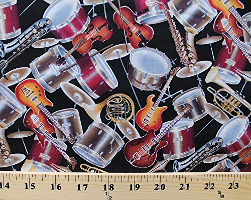 1-2-yard-strike-up-the-band-musical-instruments-tossed-on-black-cotton-fabric-drums-saxophone-guitar