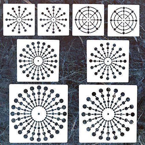 8 Pack Mandala Dotting Stencils Template,Mandala Dotting Stencils Mandala Dot Painting Stencils Painting Stencils for Painting on Wood,Airbrush and Walls Art,8/12/16/20/24 Segment ()