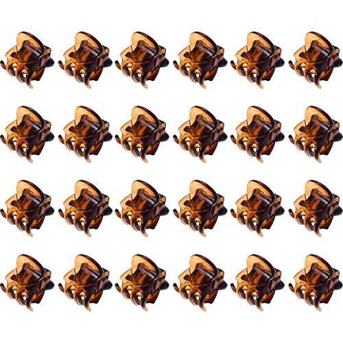 Mini Hair Clips Plastic Hair Claws Pins Clamps for Girls and Women (24 Pieces, Brown)