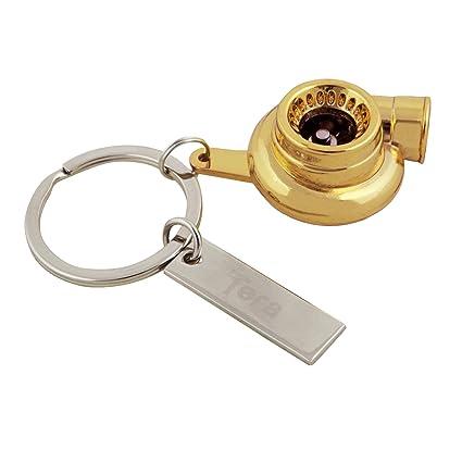 Tera® Llavero de Turbo Compresor con Rotacion Llavero de Rueda de Paleta Giratoria Llavero (Oro)