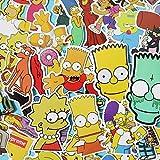 The Simpsons Family Cartoon Waterproof Laptop Stickers Waterproof Skateboard Snowboard Car Bicycle Luggage Decal 50pcs Pack