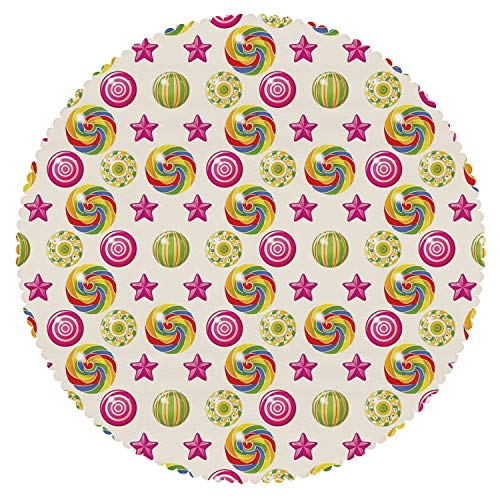(Stylish Round Tablecloth [ Kids,Cute Yummy Candy Rainbow Swirl Lollipop Sweet Figures with Stars Vibrant Artsy Design,Multicolor ] Kids)