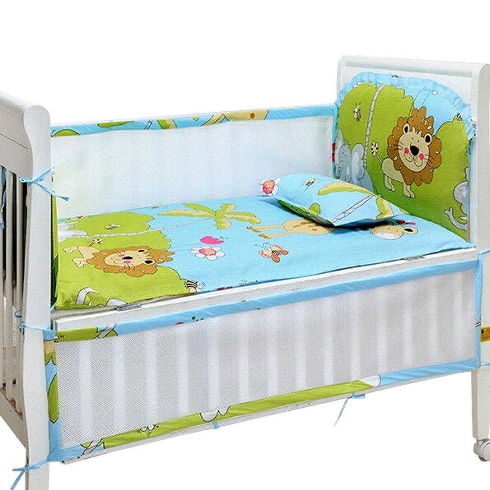 Set of 4 Nursery Baby bassinet/Crib Bedding Bumper Crashproof Cushion Forest