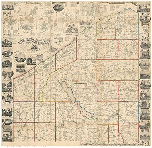 Chatauque County New York 1854 - Wall Map with Homeowner Names - Old Map - County North Map Westfield