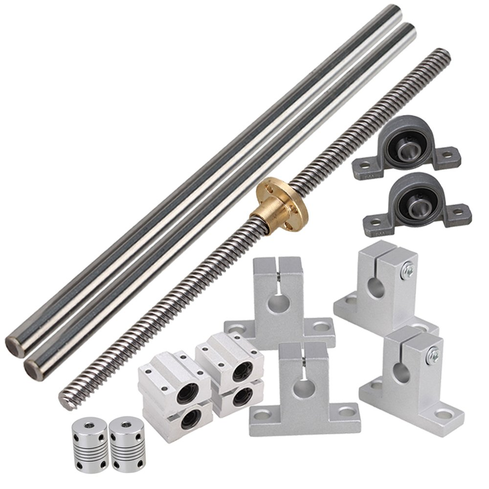 BQLZR Horizontal Linear 200mm Optical Axis & 8mm Lead Rod with Nuts Dual Rail Support CNC Bearing Block & Stepper Coupler Support Set N23945