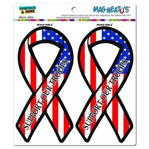 Support Our Troops Ribbon - Patriotic USA American Flag MAG-NEATO'S(TM) Automotive Car Refrigerator Locker Vinyl Magnet Set