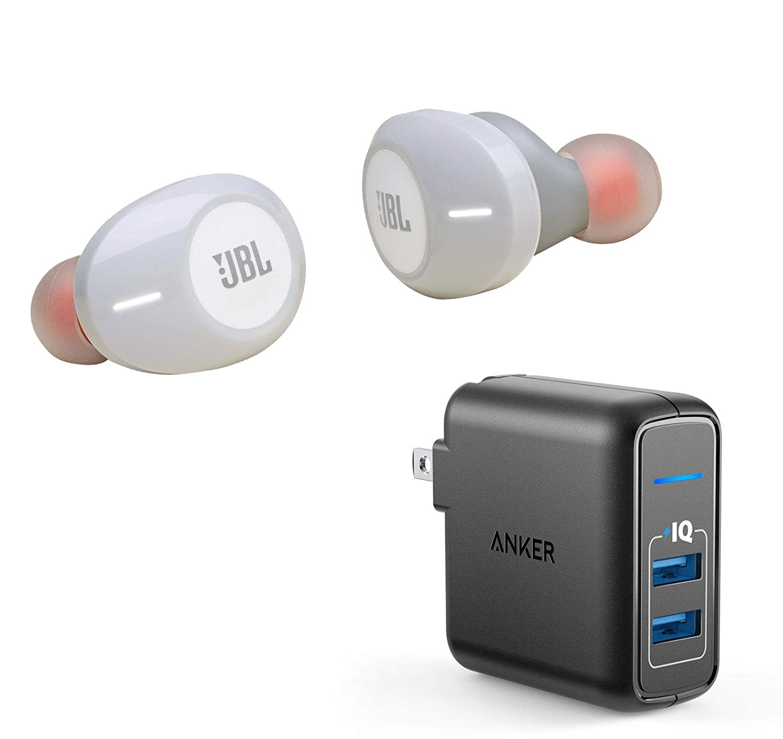 JBL Tune 120TWS True Wireless Bluetooth in-Ear Headphone Bundle with Anker PowerPort Elite 2 Port USB Wall Charger - White