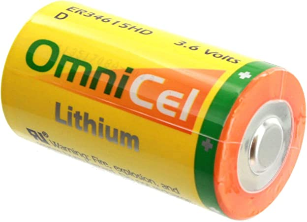 AMR Add-ons 4x OmniCel ER34615 3.6V 19Ah Size D Lithium Battery with Wire Leads For Carbon Monoxide Detectors Emergency Backup Intrusion Sensors Data Collection Invisible Fencing