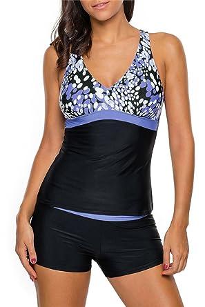 Addfect Tankini Sexy Short Rayures Coupe basse Push up Maillots de Bain Femme 2 Pieces Été Bikini Soutien-gorge Rembourré sans Armature Beachwear(S-3XL) (2XL, Bleu)