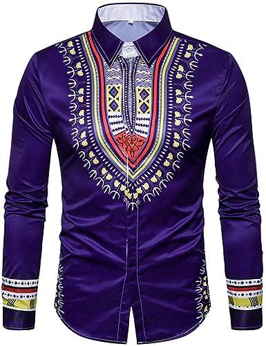Yvelands Camisa de impresión Africana Manera Casual Jersey de impresión de Manga Larga Camiseta Top Blusa Camisas Vestido de Fiesta Vestido de Fiesta: Amazon.es: Ropa y accesorios