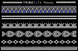 TribeTats Mykonos White Metallic Temporary Tattoos | Henna Inspired Jewelry Tattoos | Apply In A Flash With Water | Boho Music Festival Accessories | Mandalas, Elephants, Hamsas, Arrows, Flowers