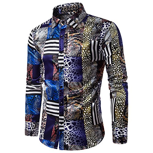 Birdfly Men's Asymmetrical Print Slim Fit Button Down Casual Dress Shirt Blosue Top (XL, Blue) from Birdfly