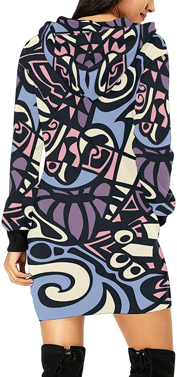INTERESTPRINT Womens Hooded Dress with Pocket Abstract Hypnotic Retro Pullover Tunic Drawstring