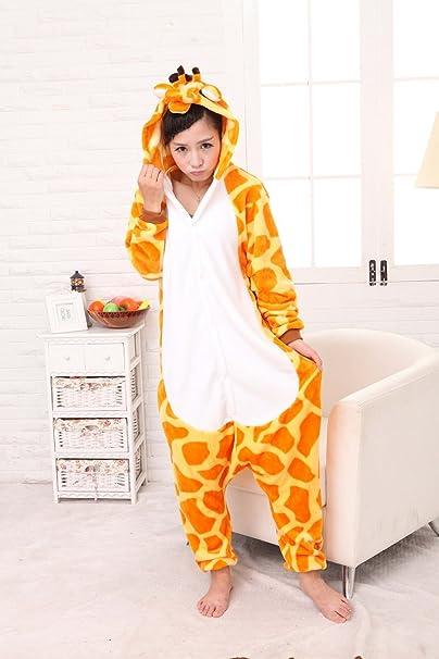 Pijama o disfraz de cuerpo entero de unicornio hecho de forro polar para niños y adultos de Colourfulworld, jirafa, medium