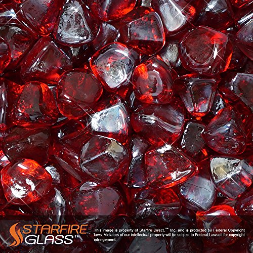 Starfire Glass 10-Pound Fire Glass 1-Inch Ruby Red Reflective Fire-Diamonds (Red Glass Fire Pit)