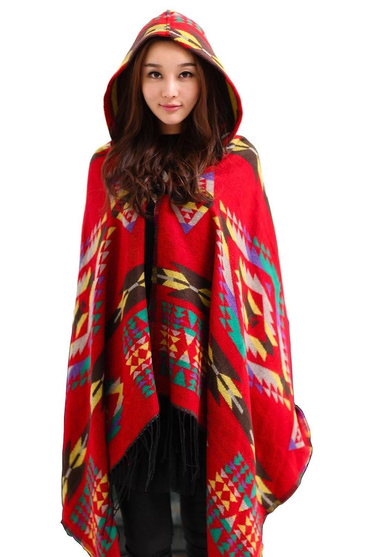 ColorFino Womens Winter Cardigan Batwing Jacket Hooded Stylish Loose Coat