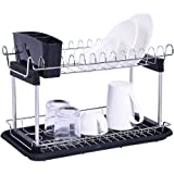 2-Tier Dish Drying Rack, Sonmer Kitchen Collection Shelf Drainer Organizer - Ship from US