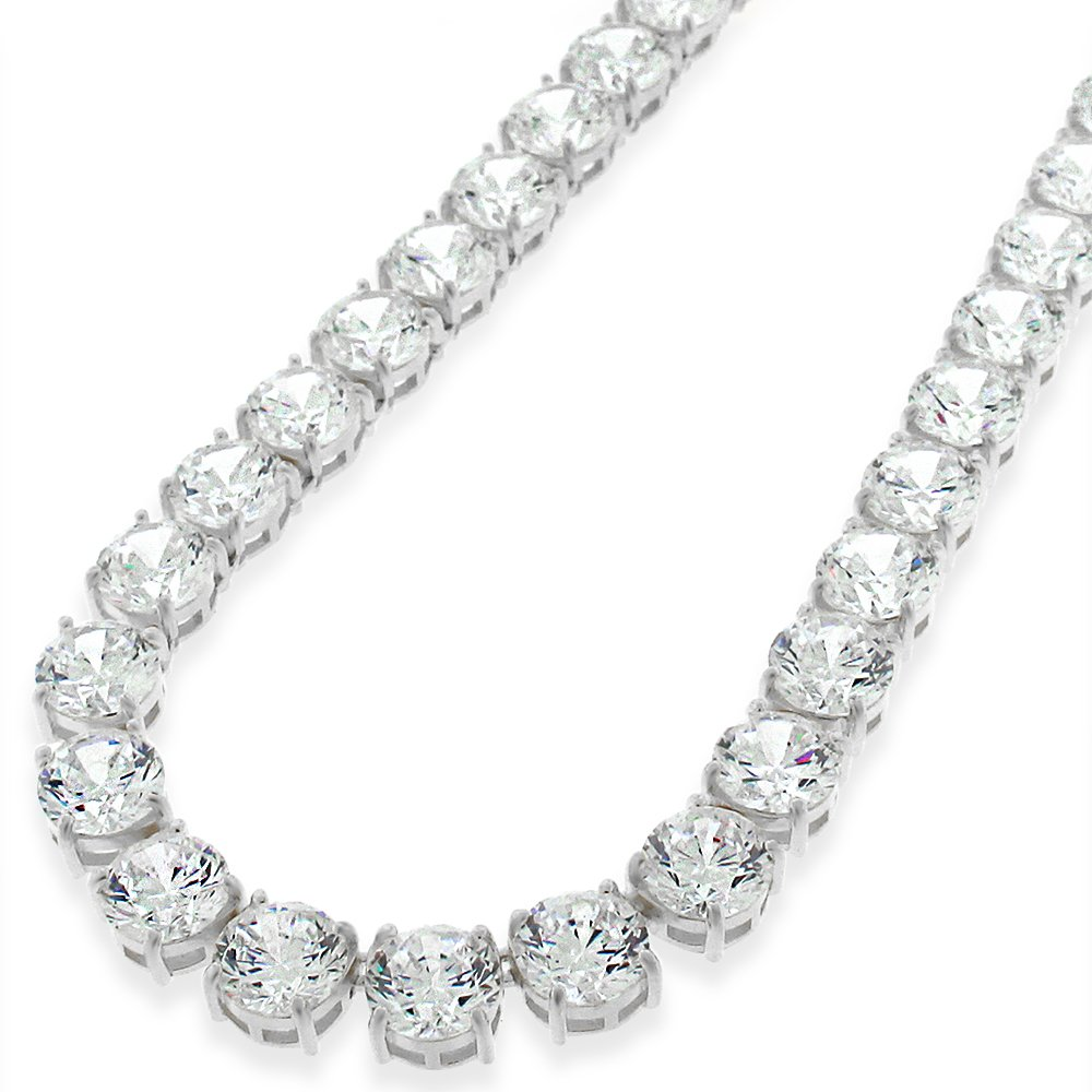 Sterling Silver 7mm Brilliant-Cut Clear Round CZ Solid 925 White Tennis Necklace 20'' - 30'' (28) by In Style Designz