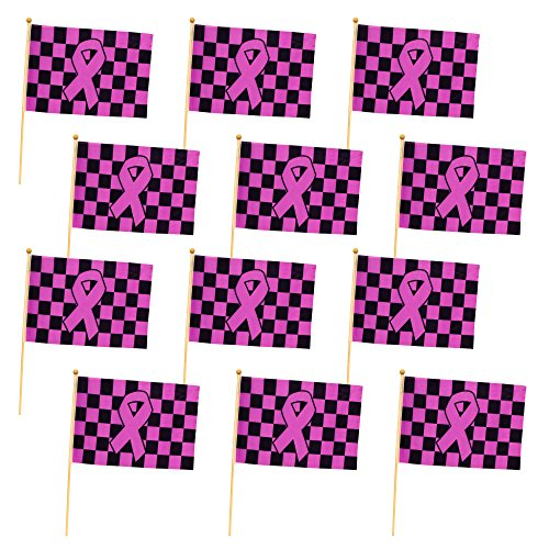 Pink Ribbon Checkered Flags (12 Pack) -
