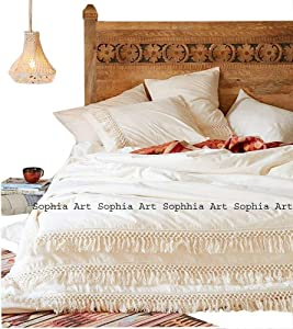 White Cotton Tassel Bohemian Duvet Cover Bedding Quilt Cover Dorm Decor Gypsy Mandala Donna Cover Comforter Cover Solid Duvet Cover Boho Bedding Cover with Pillow Cover (Twin)