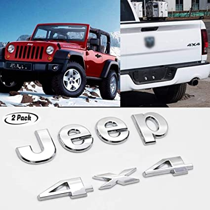 2x Red 4x4 Trail Rated Metal Grille Emblem Badge Sticker pickup Limited Logo suv