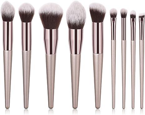 Nikgic Pinceles de Maquillaje Profesional Set Pelo de Nylon 23 * 18 * 2.2cm Mango de Madera Blush Cepillo Cejas Cepillos del Maquillaje Brocha para Polvos Herramienta de Maquillaje 9 Piezas Marrón 2: Amazon.es: Instrumentos musicales