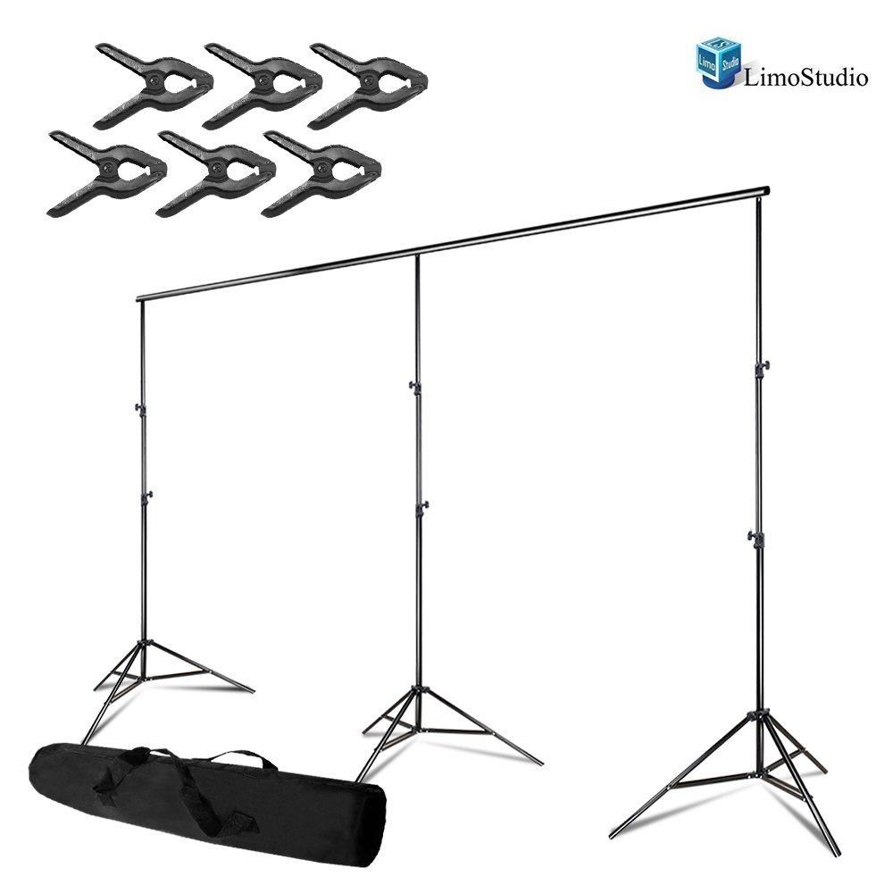 LimoStudio Photo Video Studio, Max 20 ft. Wide, Length Adjustable Photo Background Muslin Backdrop Support System with 3 Stands, Spring Support Clamp Photography Studio, AGG2280 by LimoStudio