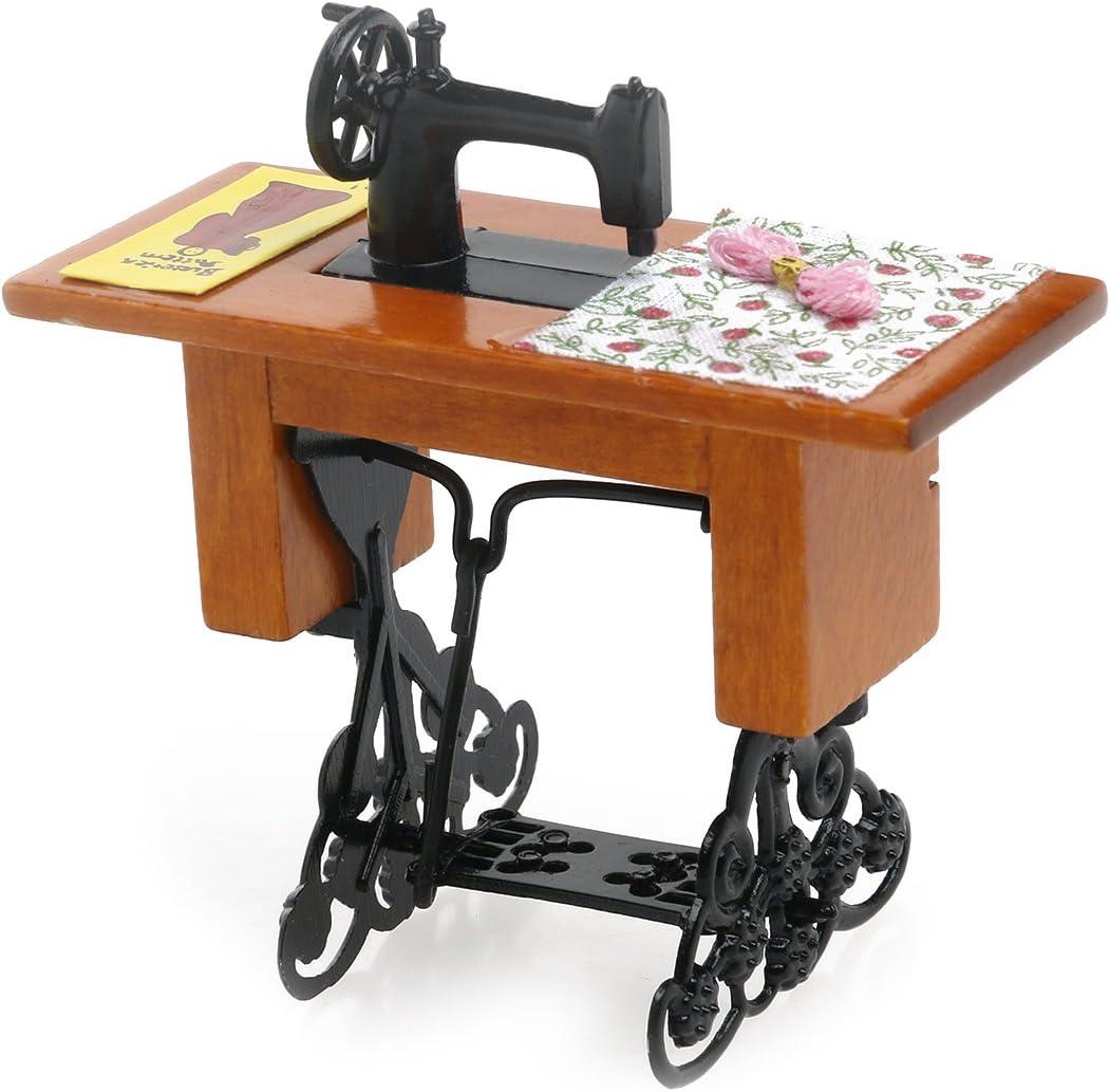 TOYMYTOY 1/12 Dollhouse Miniature Máquina de Coser con Tijeras de Tela: Amazon.es: Juguetes y juegos
