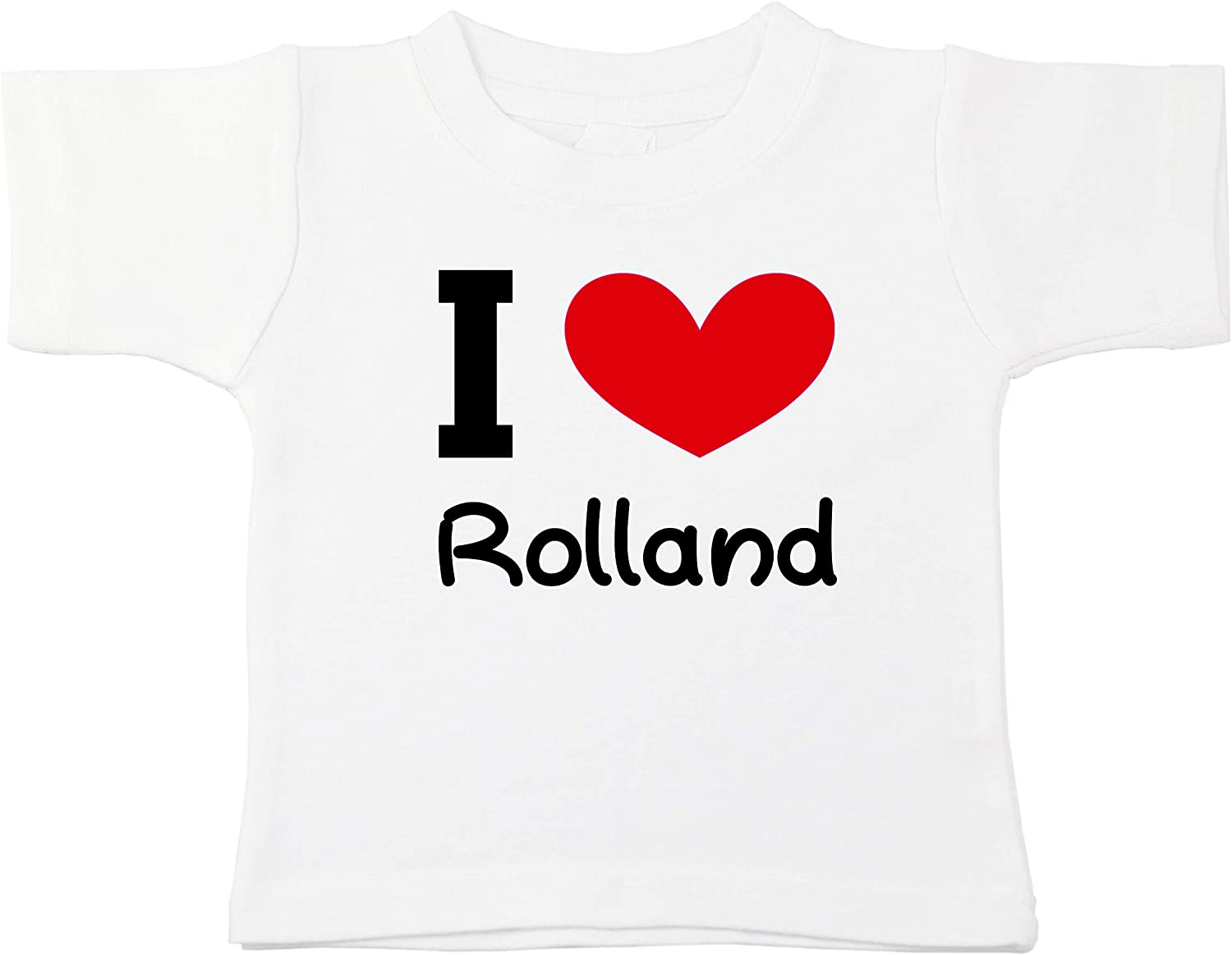 Kinacle I Love Rolland Personalized Baby//Toddler T-Shirt