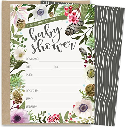 Koko Paper Co Winter Baby Shower Invitations with Rustic Winter Florals. Set of 25 Fill in the Blank Style Invites and Kraft Envelopes. Printed on Front and Back. Blank Christmas Holiday Invitations