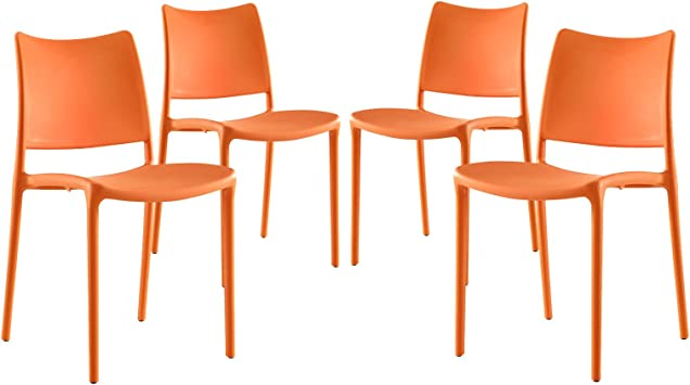 Amazon Com Modway Hipster Contemporary Modern Molded Plastic Stacking Four Dining Chairs In Orange Chairs