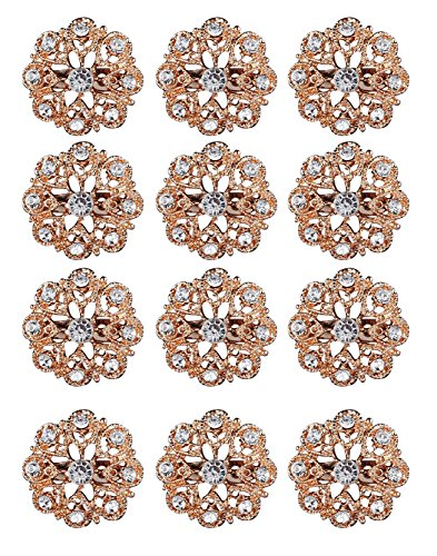 L'vow Crystal Floriated Brooches Scarves Buckle Collar Pin Corsage Bouquet Kit Pack of 12