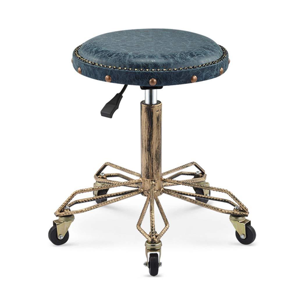 blueE Barstools with Rivet Vintage Industrial Style Salon Stool Adjustable Rolling Swivel Stool Office Chair Make Up Massage Spa Tattoo Medical Stool,bluee