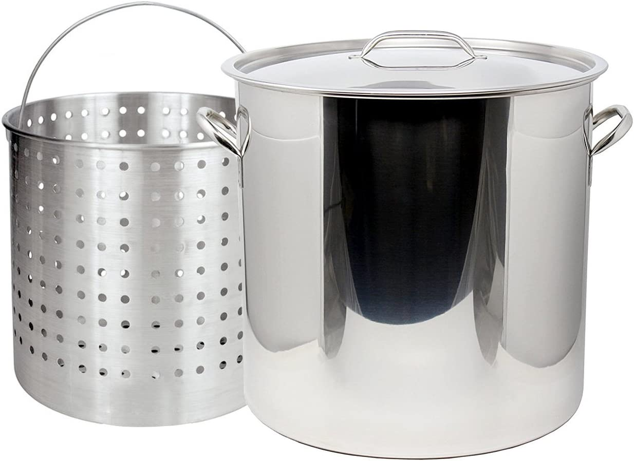 Ballington 13-Gal 16 Stainless Steel Stock Pot w Deep Steamer Boil Basket Lid