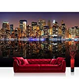 Photo wallpaper - skylines city USA - 137.8''W by 96.5''H (350x245cm) - Non-woven PREMIUM PLUS - NEW YORK LIGHTS SKYLINE - Wall Decor Photo Wall Mural Door Wall Paper Posters & Prints