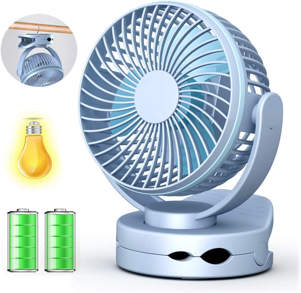 Ventilador de Escritorio con Clip USB, Mini Ventilador de Mesa Portátil para Cochecito con Luz LED, 4 Velocidades, Rotación de 360 °, Ventilador USB para el Hogar, Exterior, Oficina