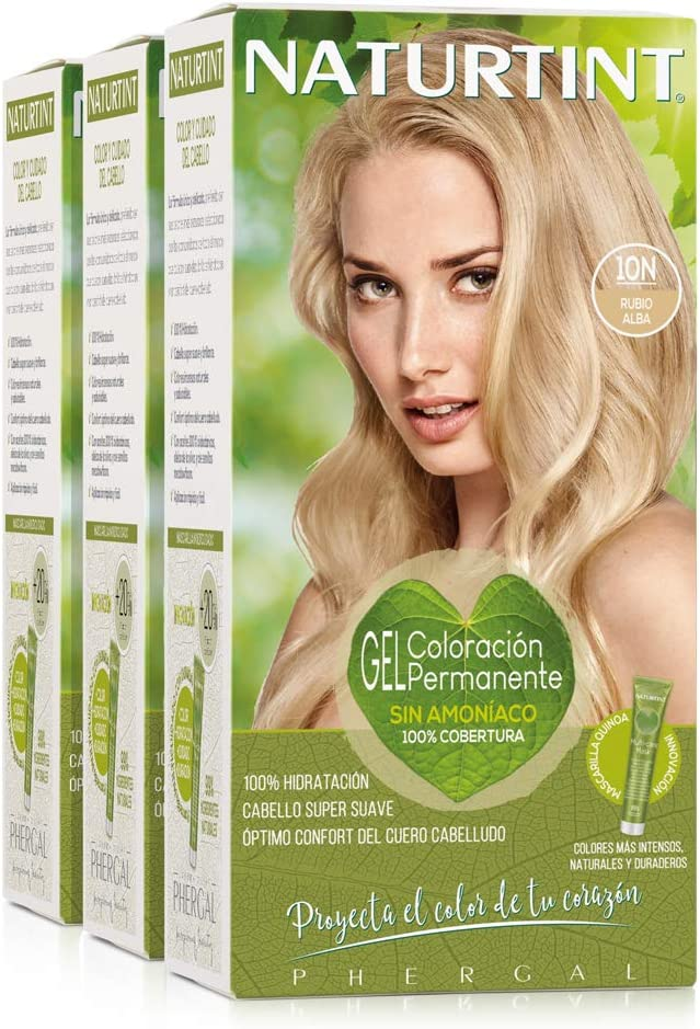Naturtint Coloración 10N Rubio Alba | Tinte sin Amoniaco | 100% Cobertura de Canas e Hidratación | Ingredientes y Aceites Vegetales | Color Natural y ...