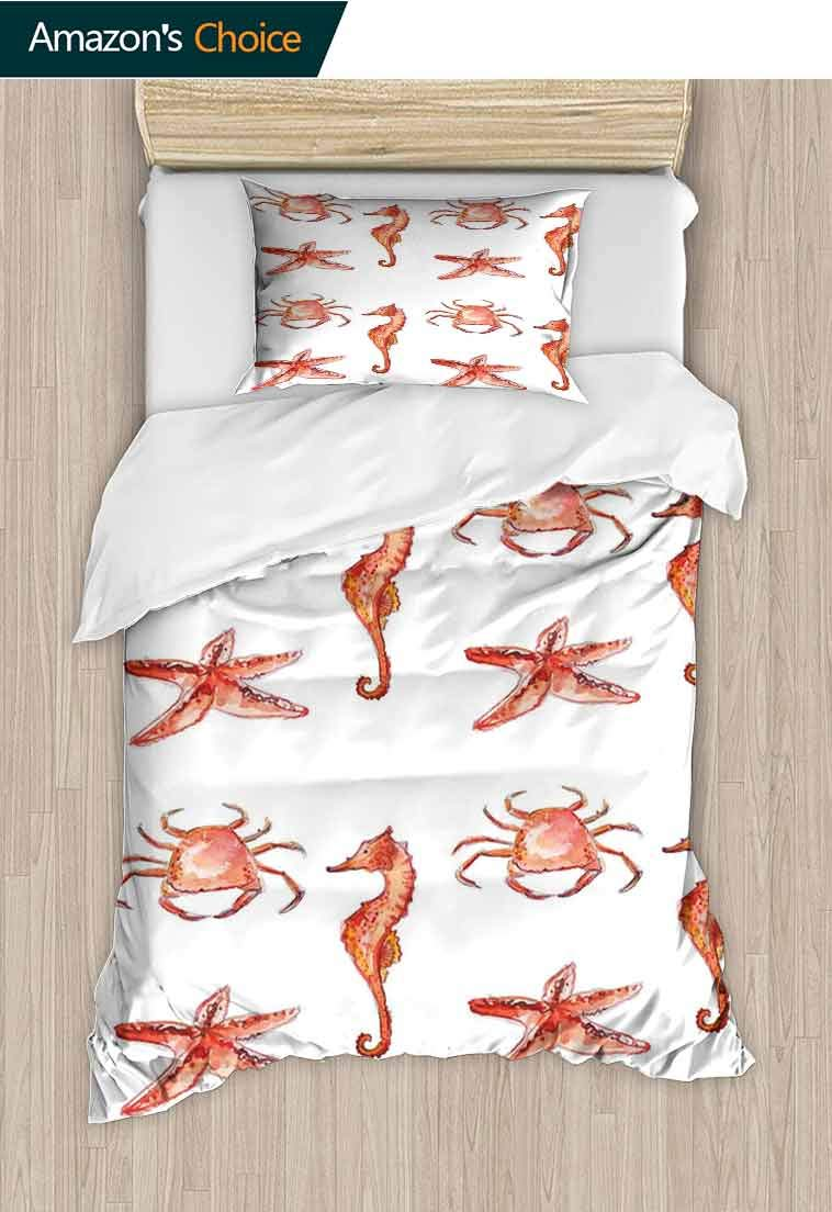 Nautical Custom Made Quilt Cover and Pillowcase Set, Crab Seahorse Starfish Hand Drawn Underwater Sea Creatures Ocean Image, Cool 3D Outer Space Bedding Digital Print - 2 Piece, 71 W x 79 L Inches